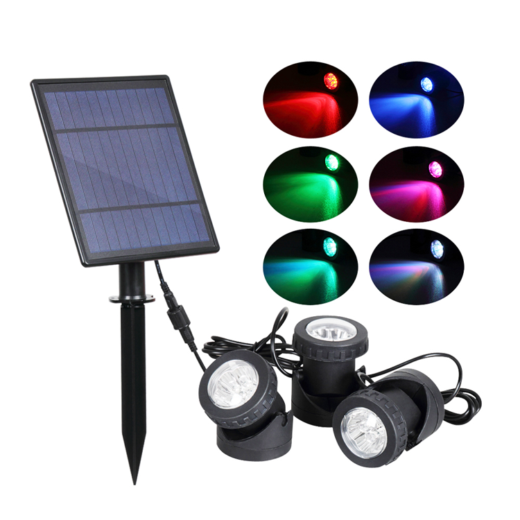 High quality 3 led lamps outdoor under water rgb solar spot light