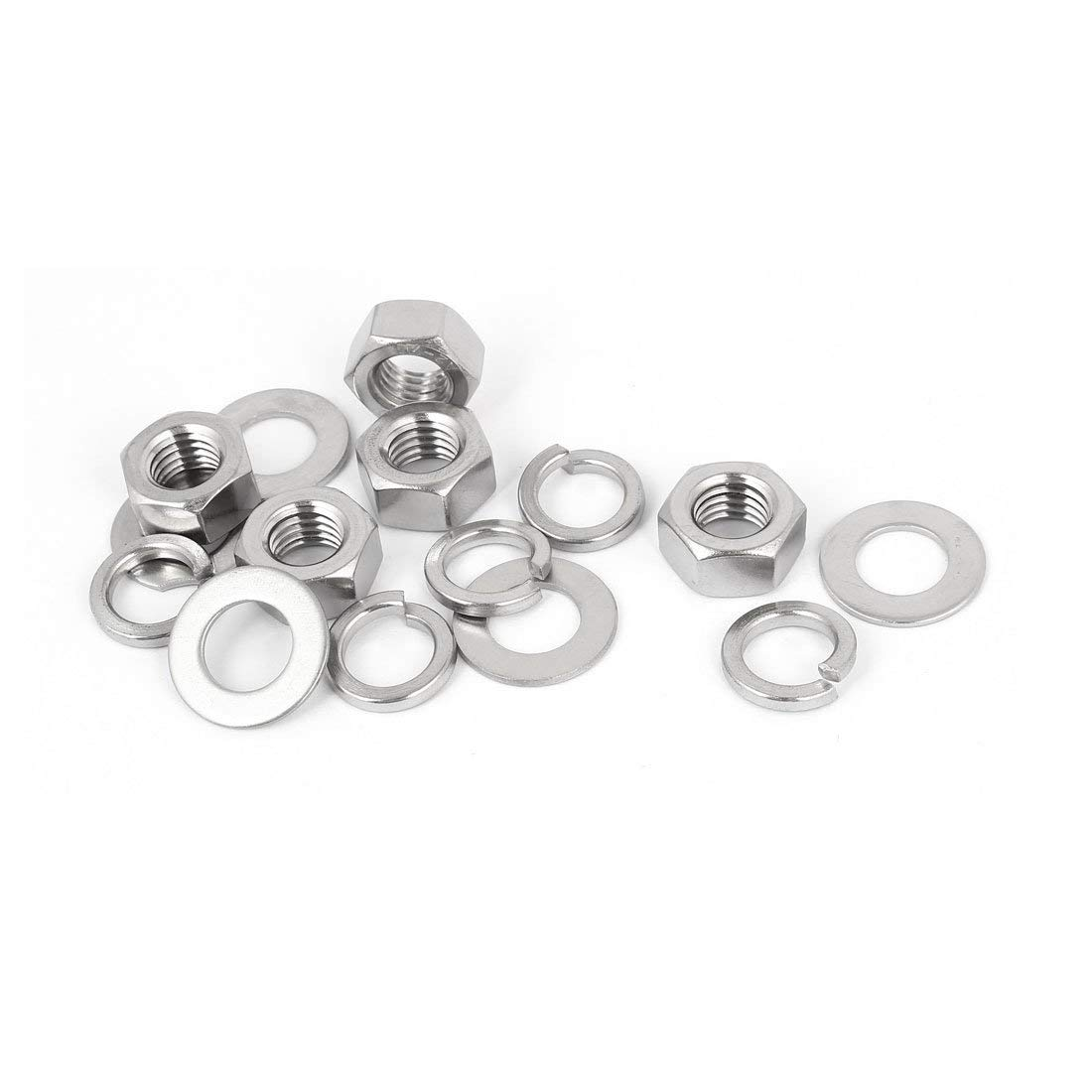 uxcell M12 Thread Diameter 304 Stainless Steel Hex Nut Flat Washer Split Lock 5 Sets