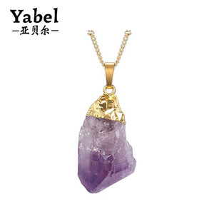Gold Plated Raw Irregular Amethyst Pendant Necklace For Men Women
