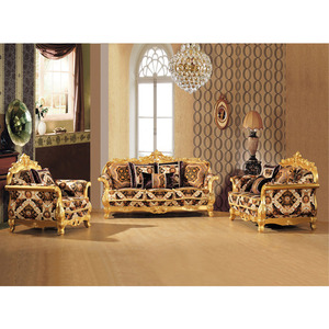 S2928-B Living Room wood carved gold leaf sofa couch living room sofa furniture