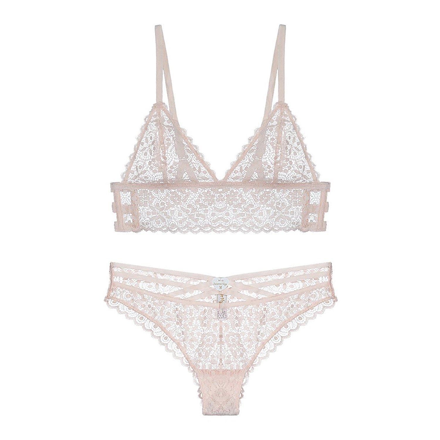 ce9562ca45 Get Quotations · MY AGLAIA Unlined Lace Triangle Bralette and Panty Set  Plunge Longline Bra Set
