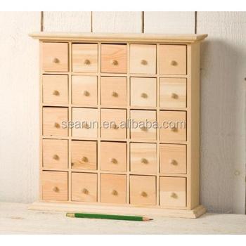 25 Drawer Plain Wooden Advent Calendar Storage Box
