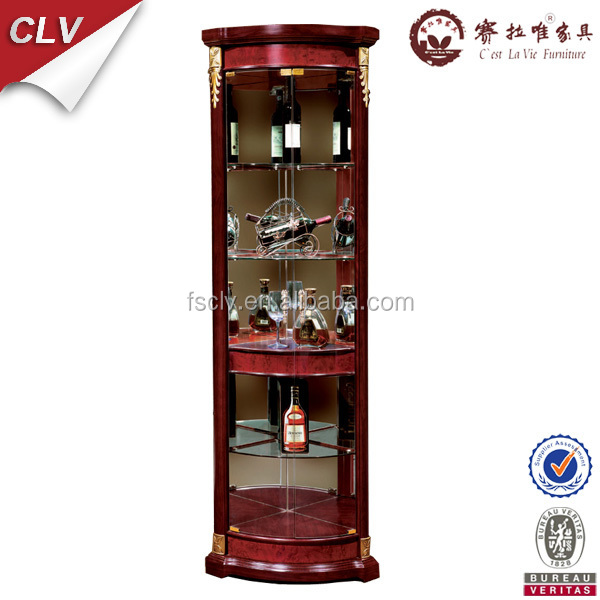 Free Standing Modern Design Showcase Corner Wooden Frame Glass Liquor Wine  Display Cabinet For Living Room