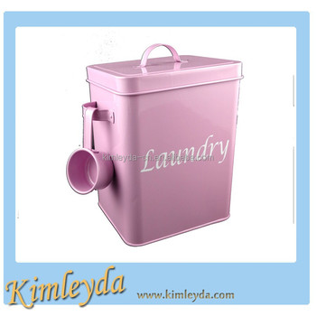 Pink color laundry powder container for home use