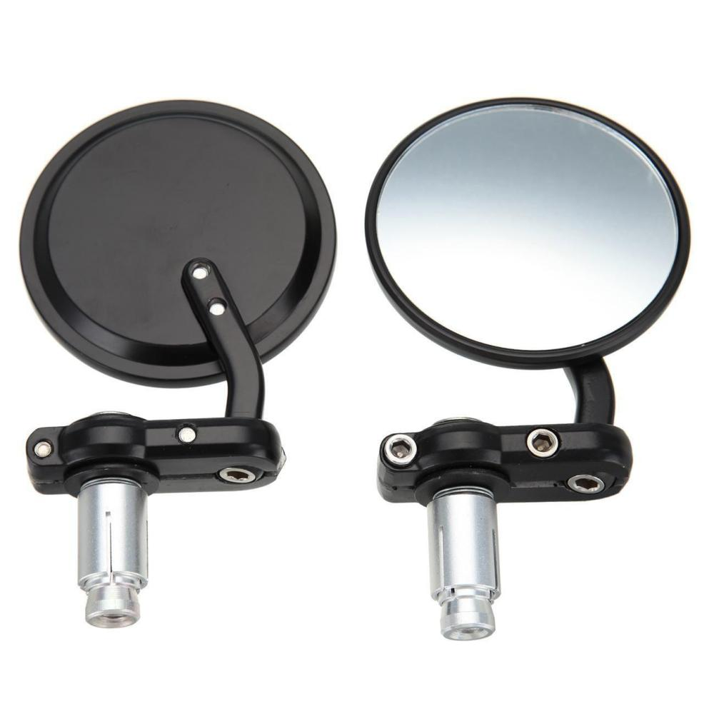 Fuerdi CNC Motorcycle 3 Round Black 7//8 Handle Bar End Mirrors Cafe Racer Bobber Clubman Motorcycle Side Mirror