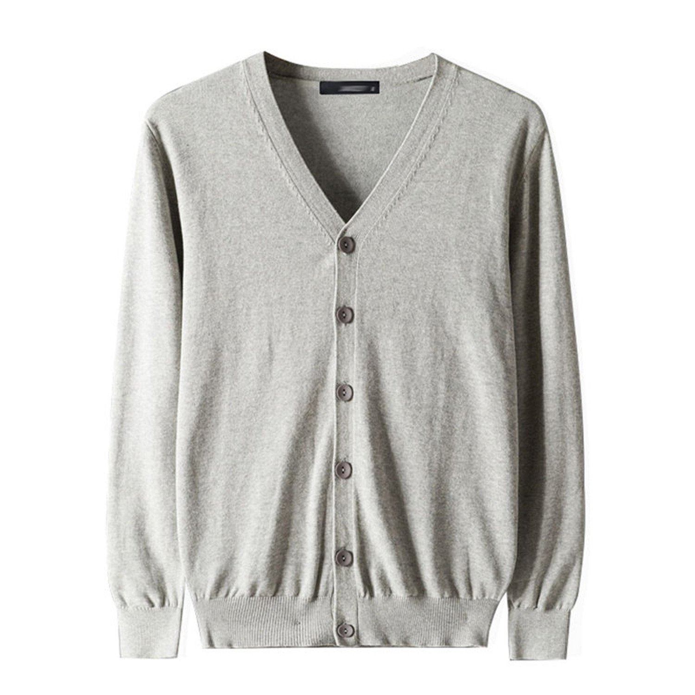 1b49fe00fd6 Get Quotations · Jeremy Martin Men Cardigan Sweater Cotton Knited Sweater  Spring Dark Gray Fit M-3XL