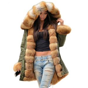 2018 army green real fur collar down parka, high quality fashion plus size S-4XL men&women winter windproof long style fur coat