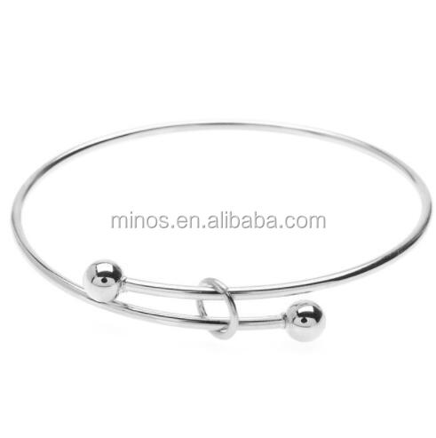 Expandable Charm Bangle Bracelet, Large 2-ball Add A Charm, Ball End Screw Bangle