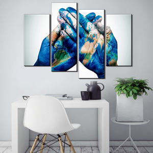 4 Panels printing world map palm staining with canvas painting modern abstract art painting home decoration
