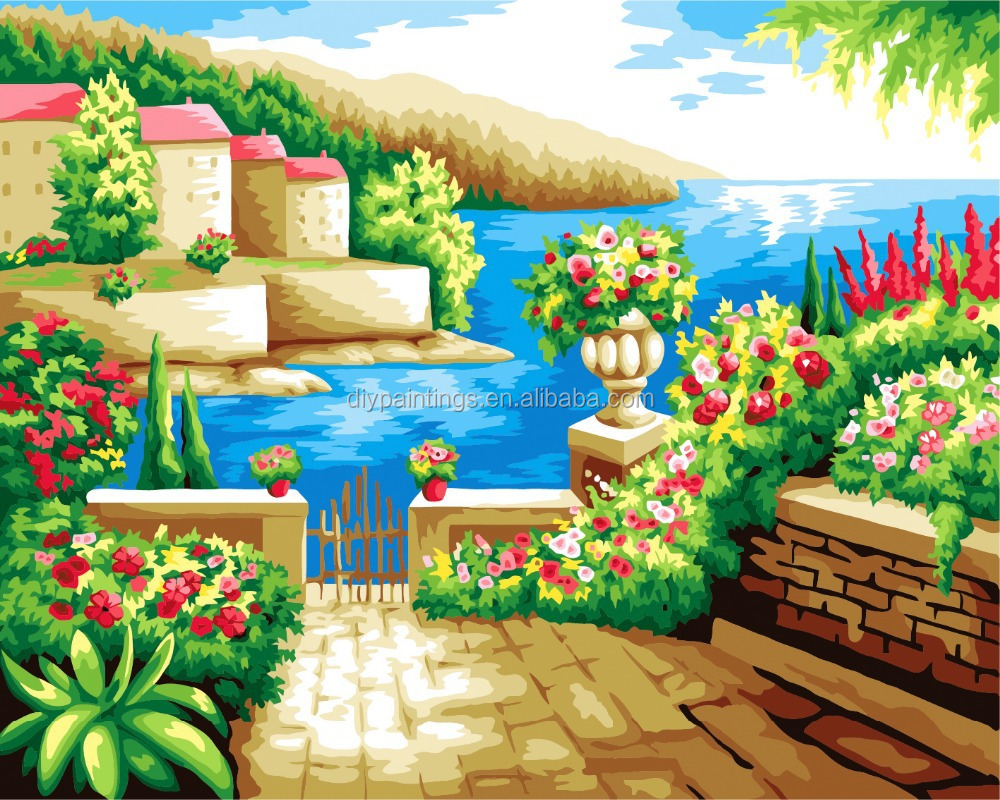 The Mediterranean beautiful view wholesales handmade diy oil painting by numbers kit for home decoration a95