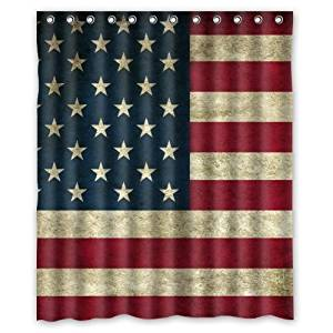 Best Beautiful American Flag Shower Curtain, Shower Rings Included 100% Polyester Waterproof 60 x 72 by American Flag shower curtain
