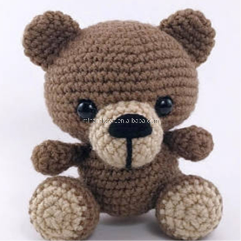 Lovely Amigurumi classical brown Plush Stuffed Animal _ hand Knitted Teddy Bear Crochet Cute Stuffed Animals Teddy Bear Plus