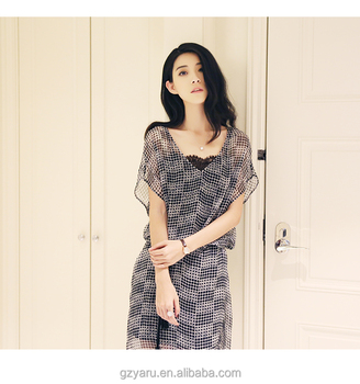 Latest Design Plain Chiffon Long Maxi Dress Loose See Through Deep V Short  Sleeve Prom Dress For Women , Buy Silk Chiffon Dress Patterns,Short Sleeve