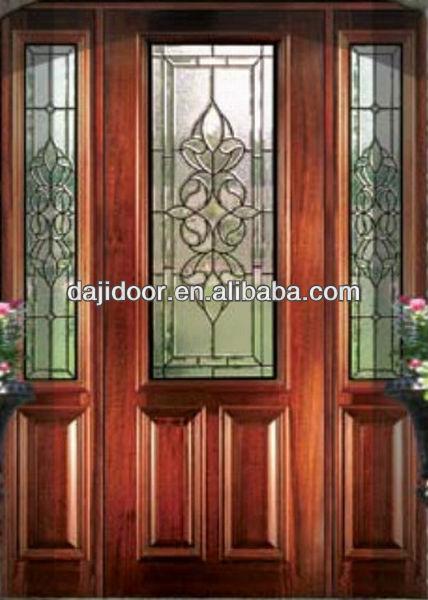 Decorative Glass External Wooden Doors With Side Lite Dj S9111mst