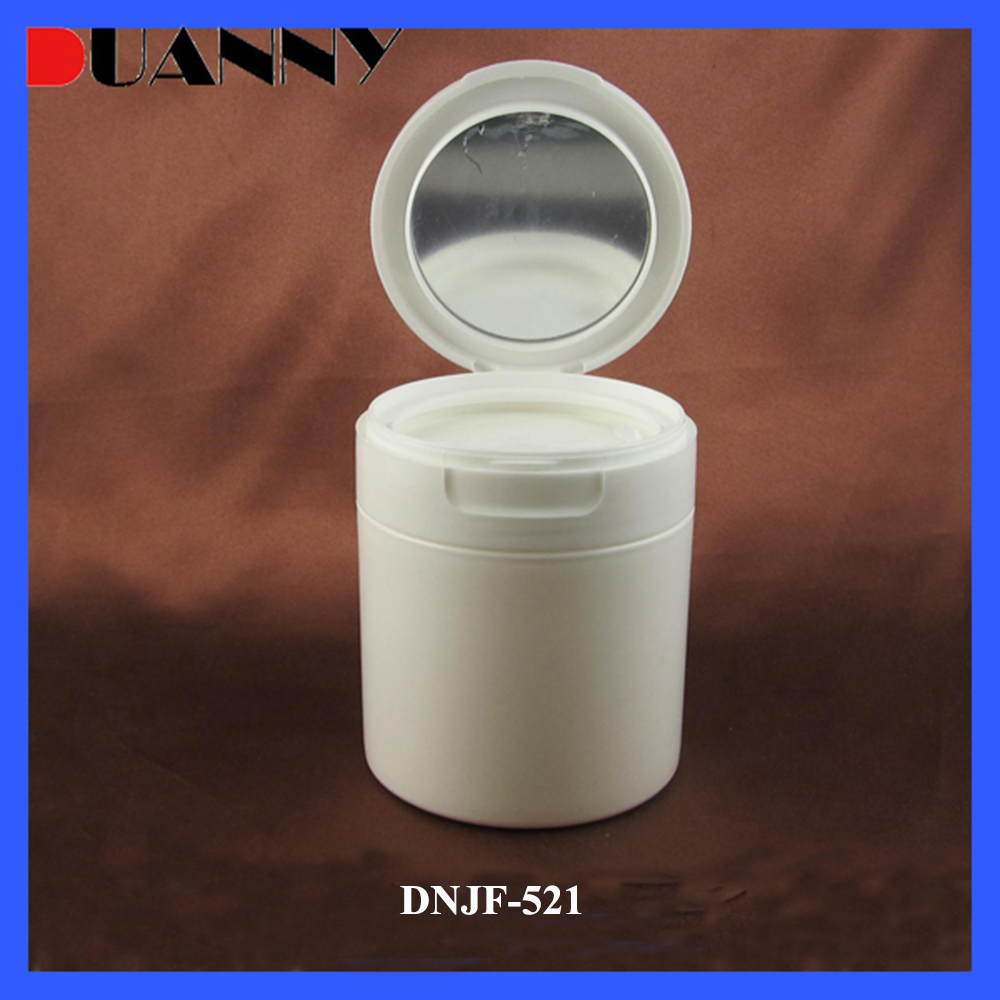 50g 80g 120g Round White Loose Powder Fip Top Bottle Jar With Mirror