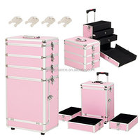 4in1 Interchangeable Cosmetic Rolling Train 2-Drawer Makeup Case, Aluminum, Pink