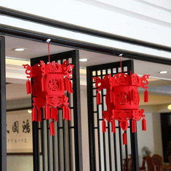 Supplying Beautiful Chinese New Year Decorative Red Felt Lantern For Home Decoration