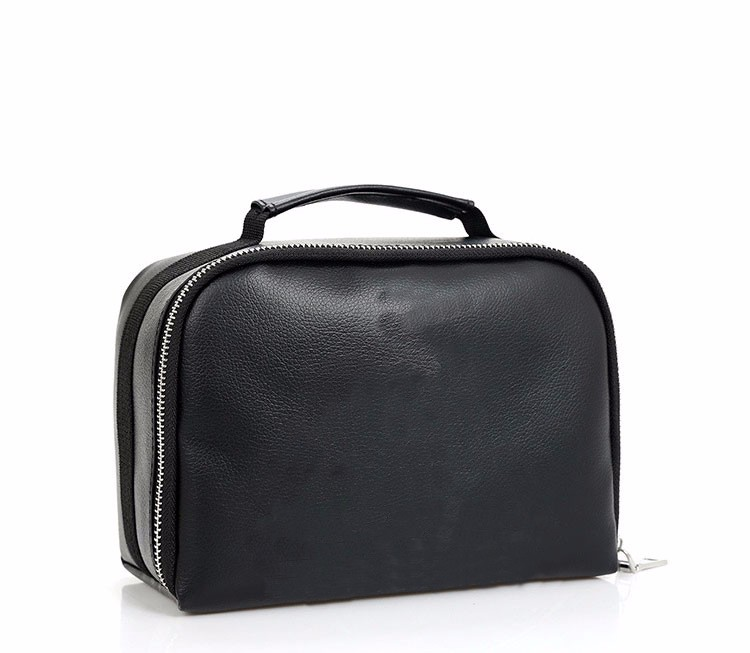 FuYuan convenient waterproof plain black patent leather cosmetic bag for traveling