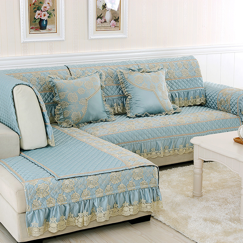 Luxury Fabric Sofa Slipcovers Lace Fundas Sofa Cover Set
