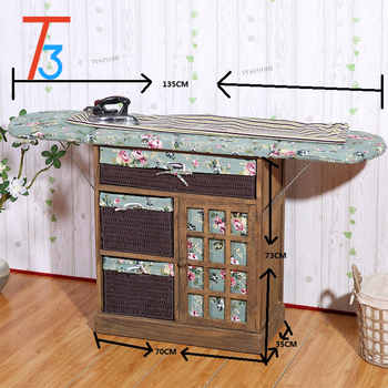 Stand For Clothes Ironing Board Wood Cabinet With Storage Basket Drawer Folding Iron