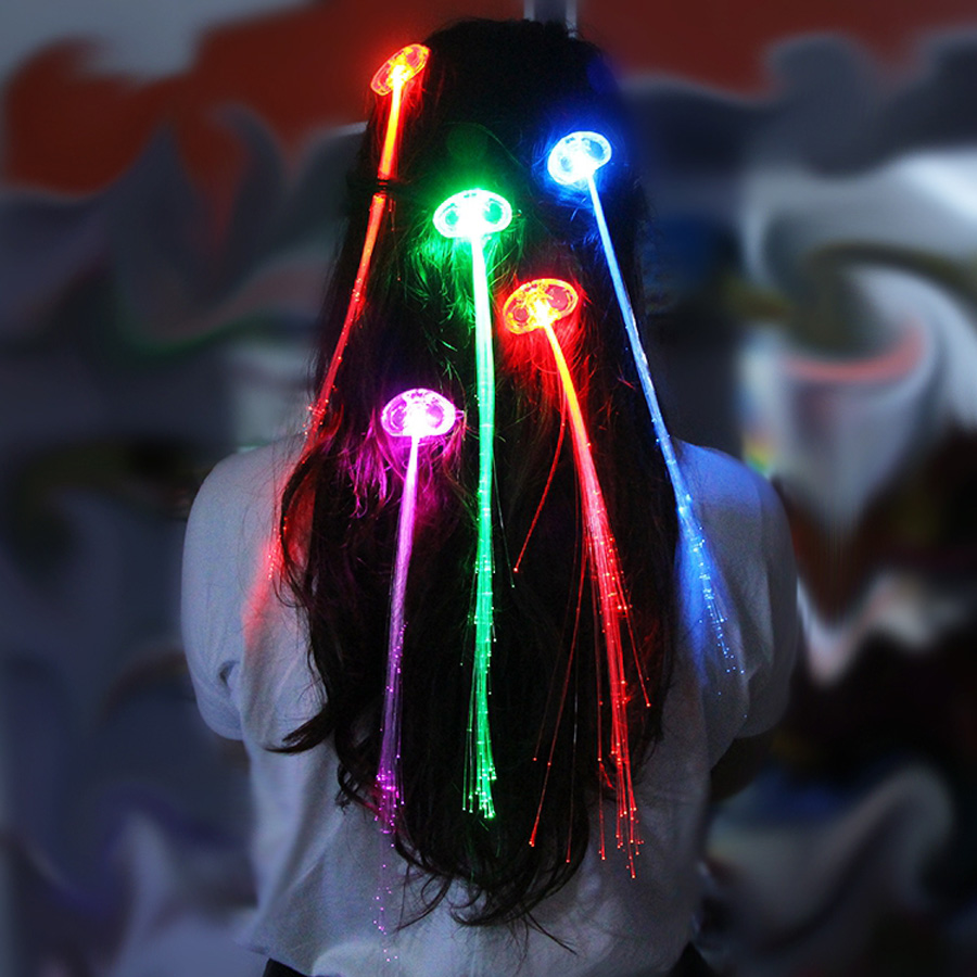 LED Glow Flash Light Braid Novelty Decoration for Party , Hair Extension for Fiber Optic Fidelity