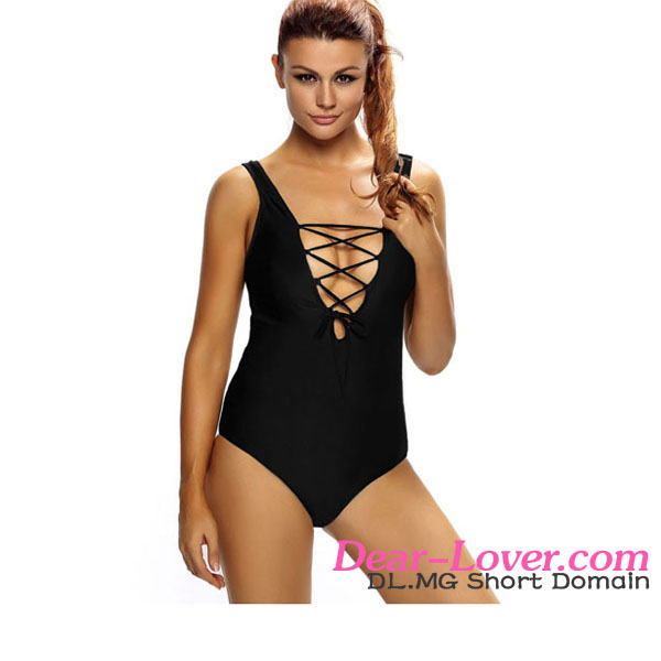 Solid Black Lace Up V Neck Teddy Private Label Swimwear Manufacturer