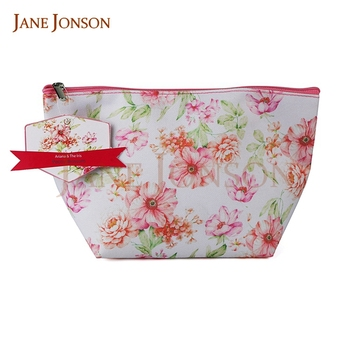 Wholesale Chinese peony blossom canvas cosmetic bag for sale