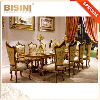 24K Gold Exquisite Marquetry Rectangle Dining Room Table and Chair Set, Solid Wood Carved 10 People Dining Table Set