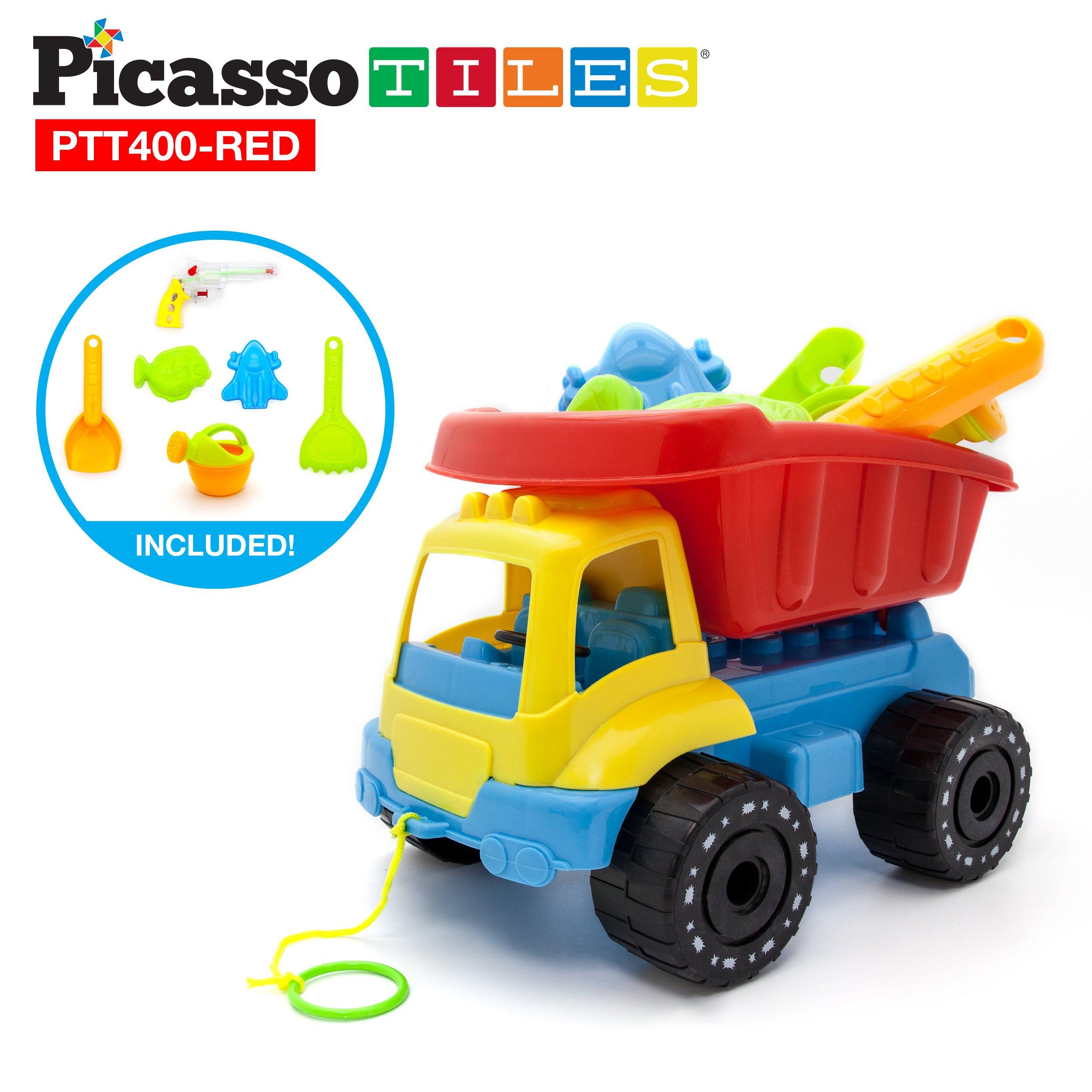 PicassoTiles PTT400 8pc Beach Toys Set Sand Box Toy Kit Combo BPA Free Safe Kid w/ Car Dump Load Truck, Shovel, Rake, Fish Mold, Spaceship, Pull Bar, Water Gun & Can Children Outdoor Fun Play