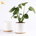 6 inch gloss white glazed ceramic cylinder pots for plants with bamboo tray