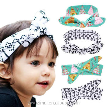 Pouplar Children Arrow Pattern Rabbit Ears Hair Bands Baby Knot Knit