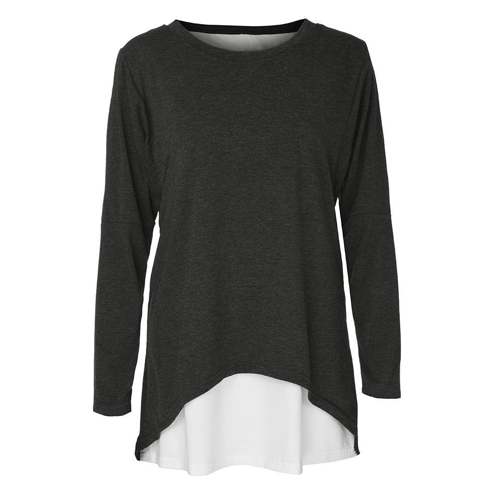 Kinrui 2PCS Womens Workout Tee Tops O-Neck Button Patchwork Long Sleeve T-Shirt Loose Blouse