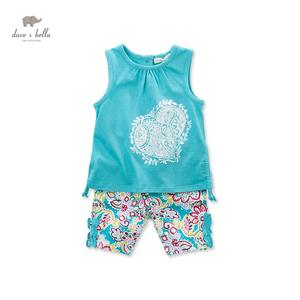 DB3217 dave bella summer baby boy printed clothing set kids striped cute sets infant clothes toddle preppy style set 2pcs