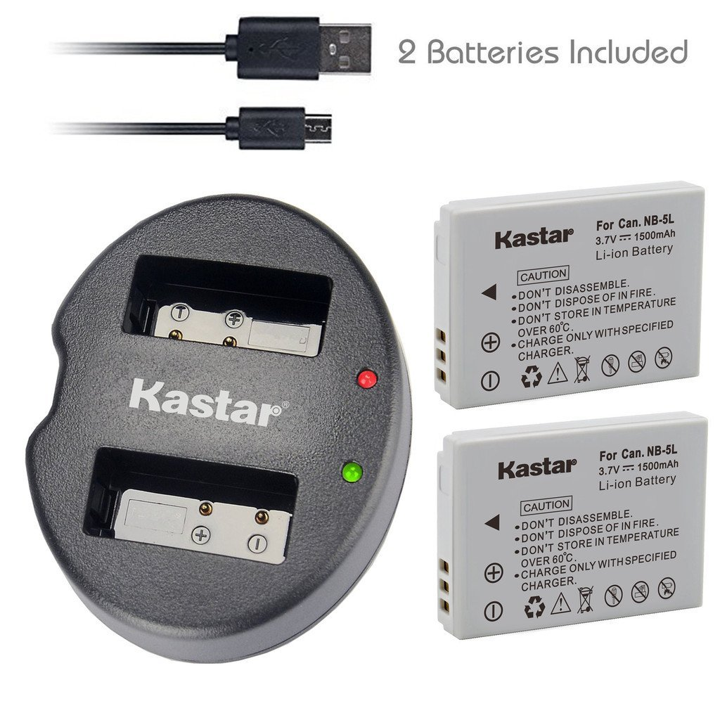 Kastar Battery (X2) & Dual USB Charger for Canon NB-5L and Powershot S100 S110 SX230 HS SX210 IS SD790 IS SX200 IS SD800 IS SD850 IS SD870 IS SD700 IS SD880 IS SD950 IS SD890 IS SD970 IS SD990 IS