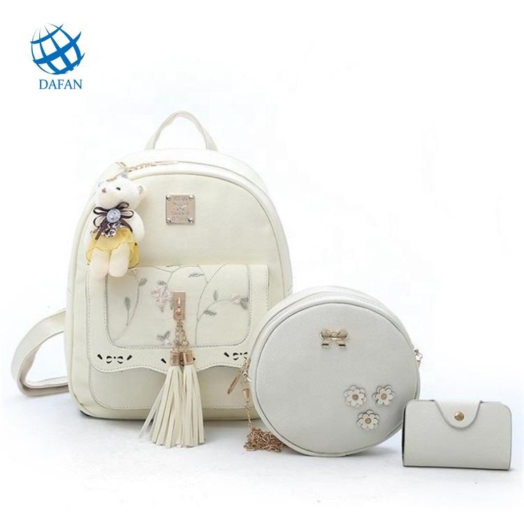 Fashion Rivet Women Backpacks Small PU Leather Cute Lady 3 Sets   Backpack Knitting Girls School Shoulder bags