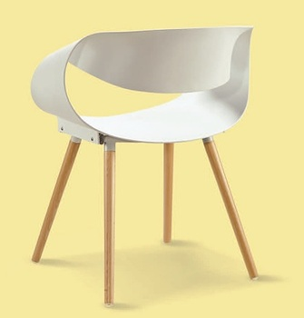 Plastic Shell Chair Leisure Cheap Wholesale Plastic Dining Beech Wood Leg