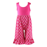 High quality summer beach sleeveless infant girl petti romper quatrefoil toddler remake romper giggle moon romper