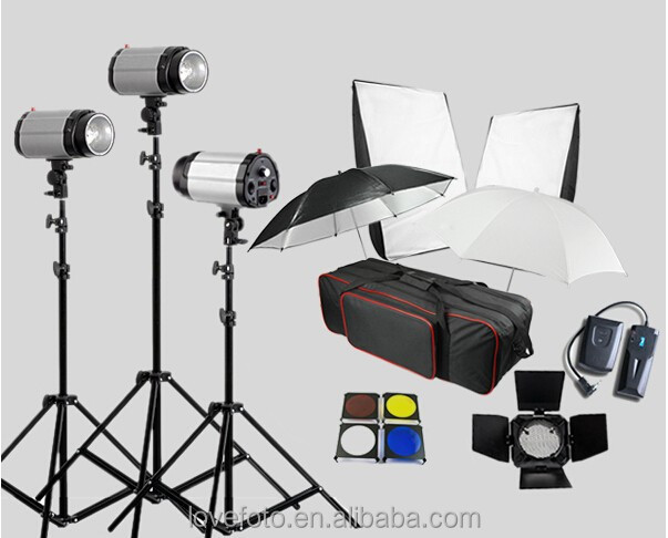 godox 250w photography light 3 lamp photographic equipment set light box studio flash