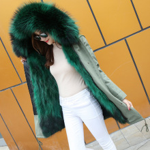 winter Fashion Female Faux fox Fur lined parka Coat jacket wholesale