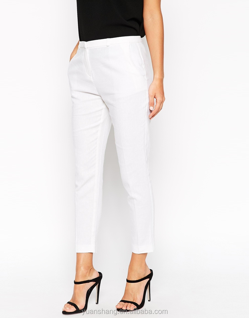 Y Pee Women Linen White Pants Las Office Trousers