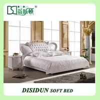 hot sale Neoclassic white leather high quality royal designer double bed design