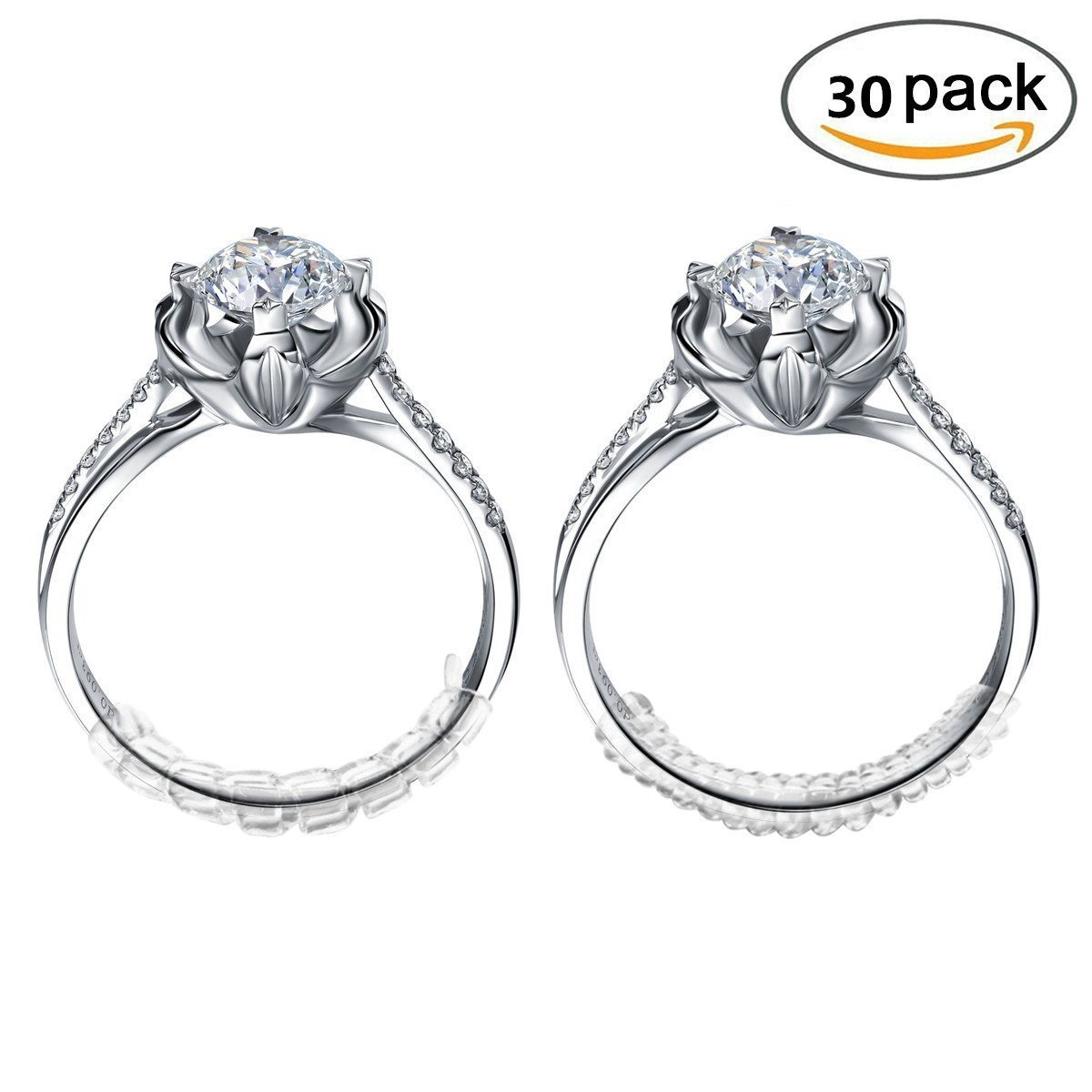 Get Quotations · Ring Size Adjuster For Loose Rings With Jewelry Polishing Cloth Set Of 30 Transparent Gaurd: Plastic Wedding Ring Spacer At Websimilar.org