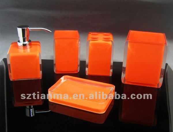 Acrylic Resin Orange Bathroom Accessories Sets Funny Product On