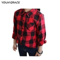 ActhInK 2016 New Kids Plaid Cotton Shirts for Girls Brand Princess Girls Autumn Spring Red Plaid