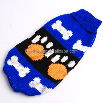 Blue Sweater Tank Tops For Pet Dog With Bone Patternhand Knit Dog