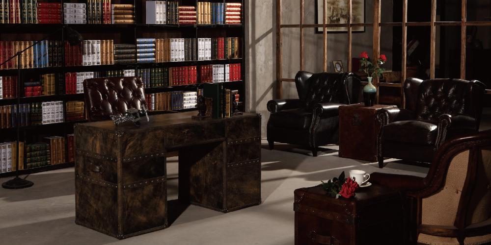 Hohe Qualität Antiken Retro Leder Schreibtisch