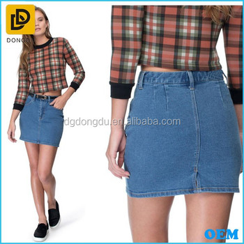 Korean Style Latest Women Denim Skirt China Manufacturer High Waist