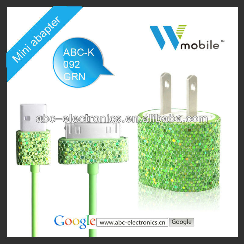 Metal shining design for iphone 5 5s 5c charger for apple