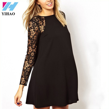 Yihao Evening Dresses For Pregnant Women Elegant Black Lace Knee