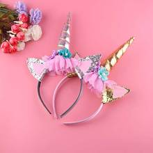 Kids Birthday Party Chiffon Flowers Decoration Wholesale Unicorn Headband